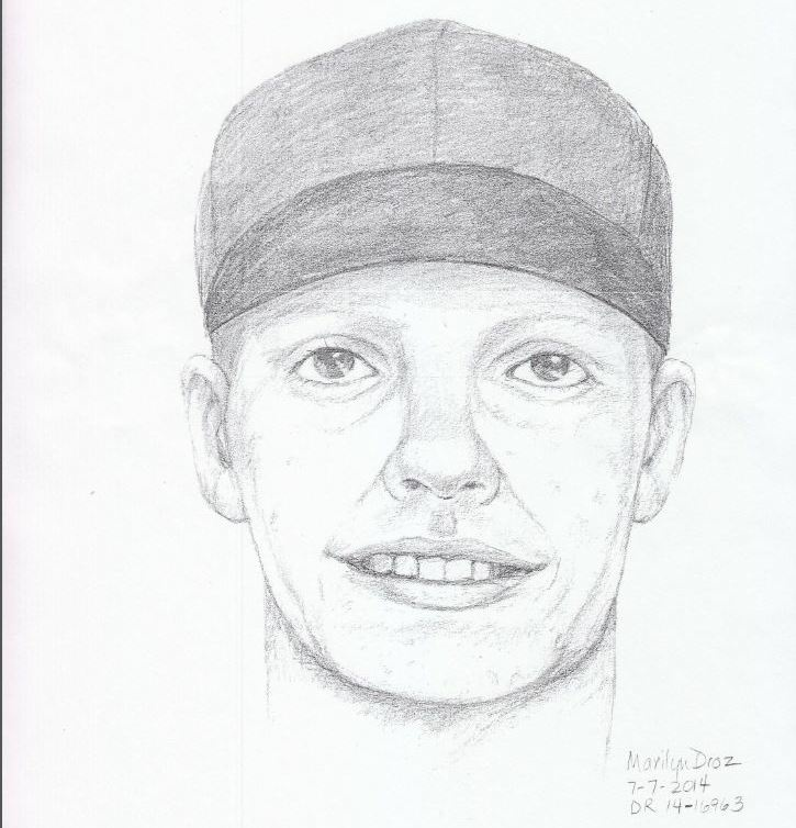 A sketch of the suspect who stole a girl's iPhone, which ultimately led to the girl's death.