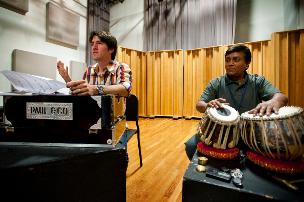 Teachers John Stephens, left, and Debasish Chaudhury lead a class in North Indian music on Friday, Aug. 2 at Cal Arts.
