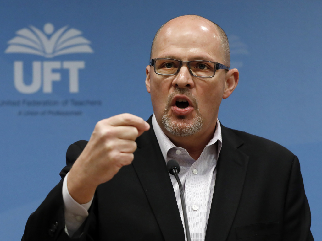Michael Mulgrew, president of the United Federation of Teachers in New York City, said at a press conference Wednesday that schools were not ready to reopen.