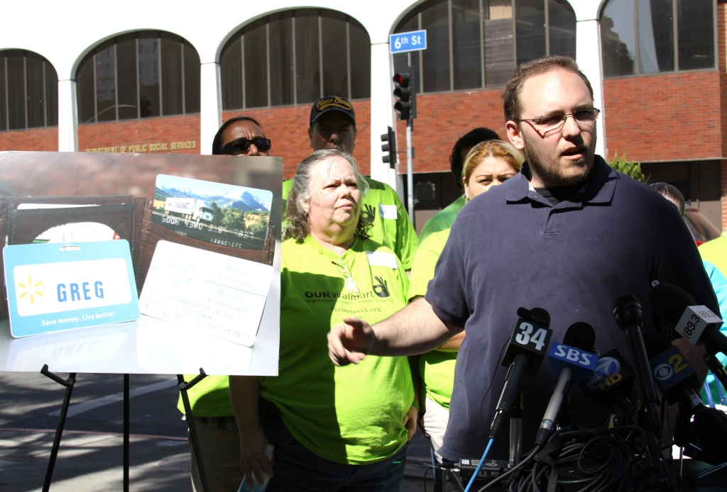 Greg Fletcher's a Walmart employee in Duarte. He spoke at a news conference today about Walmart's poor working conditions saying the company should not expand into Chinatown.
