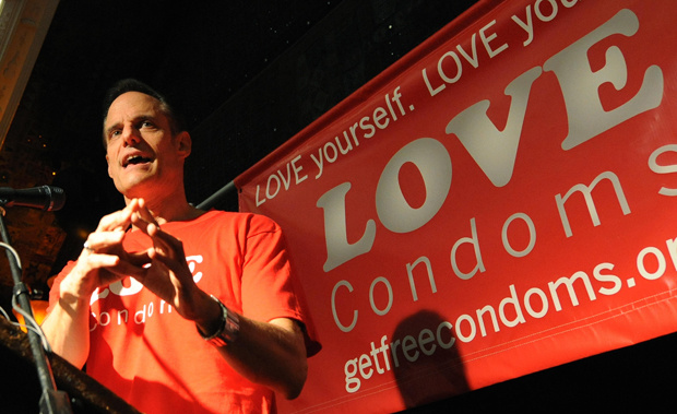 Michael Weinstein who is the President of the AIDS Healthcare Foundation, speaks at the launch of the launch of the 'Love Condoms' campaign to combat the spread of AIDS, at the House of Blues in Los Angeles on August 12, 2009. Weinstein accused an adult film trade group of engaging in a coverup after an HIV scare prompted the industry to halt productions.