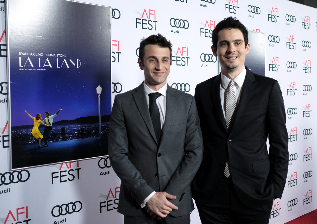 Composer Justin Hurwitz (L) and director Damien Chazelle attend the premiere of 'LA LA LAND' at AFI Fest 2016.