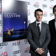 Composer Justin Hurwitz (L) and director Damien Chazelle attend the premiere of 'LA LA LAND' at AFI Fest 2016.