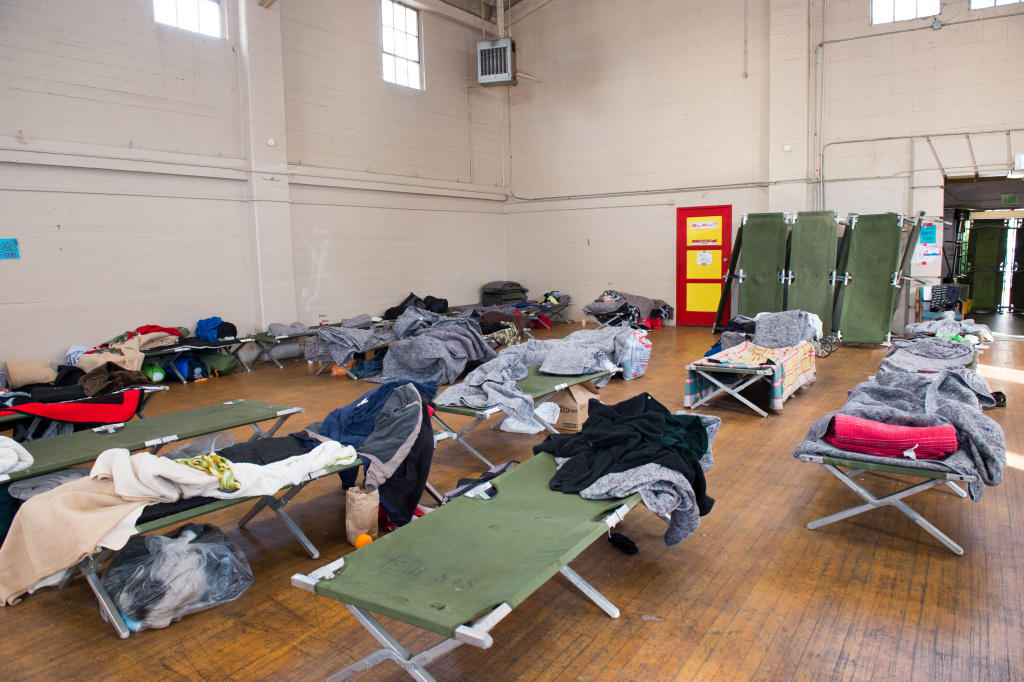The Pomona Armory has housed a temporary homeless shelter during winter months, March 29, 2018.