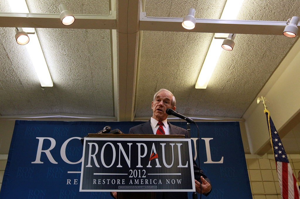 LE MARS, IA - DECEMBER 30:  Republican presidential hopeful U.S. Rep Ron Paul (R-TX) speaks during a town hall meeting at the Le Mars Convention Center on December 30, 2011 in Le Mars, Iowa.
