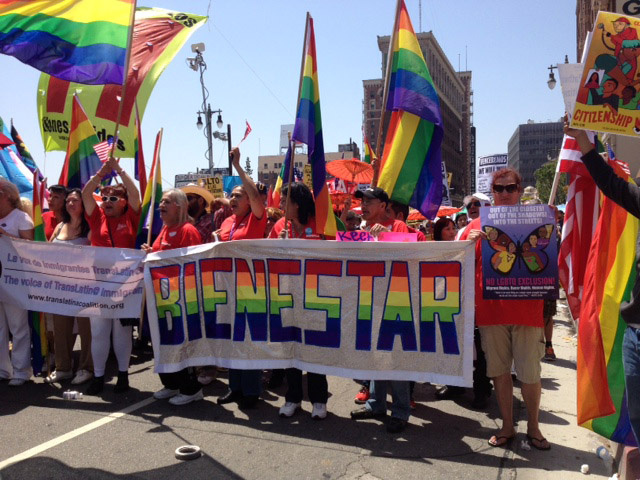 Protesters from an LGBT advocacy group prepare to march in Wednesday's May Day rally in Los Angeles. The crowd marching for immigration reform reflected how the reform movement has become more diverse since the historic marches of 2006, with greater involvement from Asian Americans, gays and lesbians, and others who have a stake in the debate.