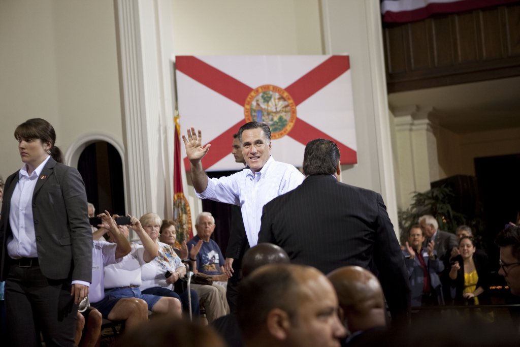 Presumptive Republican presidential nominee and former Massachusetts Gov. Mitt Romney waves to the crowd during a campaign stop May 16, 2012 in St. Petersburg, Florida.