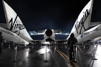 Virgin Galactic SpaceShipTwo spacecraft as shown at the Mojave Spaceport on December 7, 2009 near Mojave, California.
