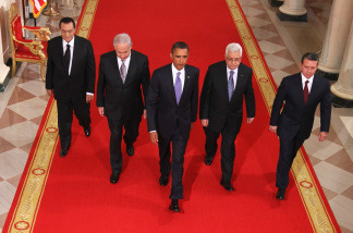 File Photo: Egyptian President Hosni Mubarak, Israeli Prime Minister Benjamin Netanyahu, U.S. President Barack Obama, Palestinian Authority President Mahmoud Abbas, and King Abdullah II of Jordan walk toward the East Room of the White House for statements on the first day of the Middle East peace talks September 1, 2010 in Washington, D.C.