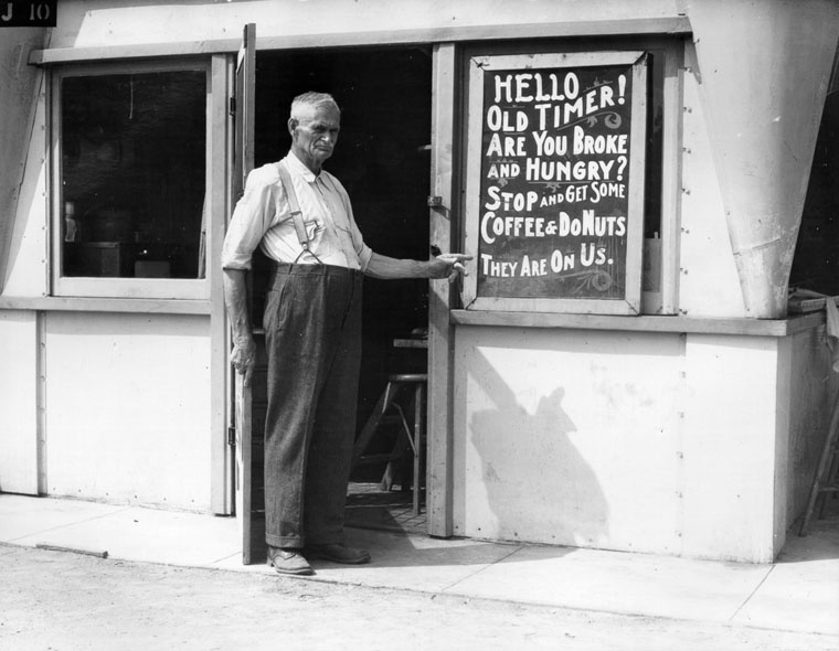 A scene from the Great Depression. During KPCC's fall fund drive, we're helping people hit by the Great Recession by partnering with the LA Regional Food Bank.