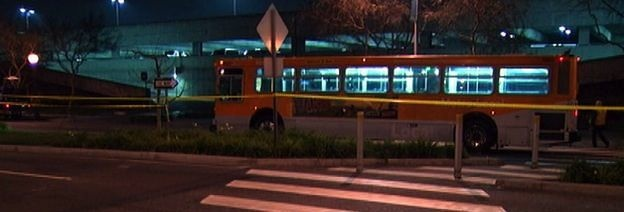 Authorities cordoned off the area where a Metro bus hit two pedestrians in West Hollywod, killing one of them on February 4, 2013.