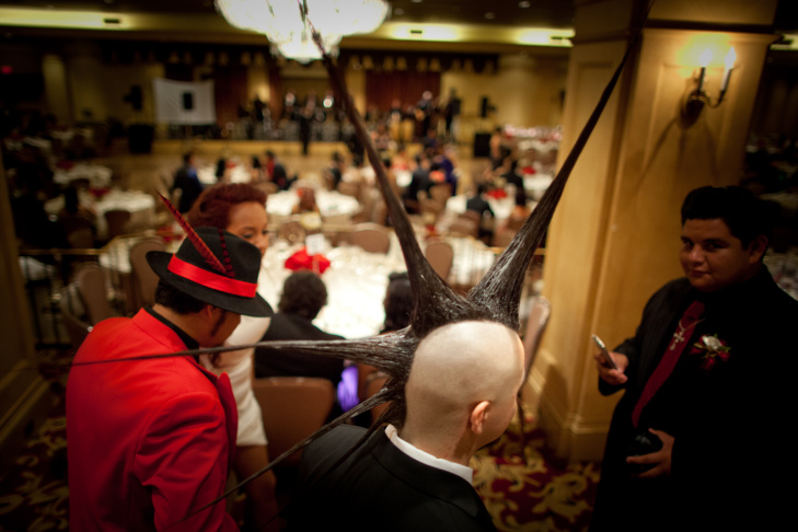 A student sports a sizeable mohawk at the Bell Gardens High School prom at the Biltmore Hotel on Saturday, April 21.