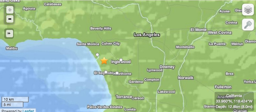 Screencap of USGS map of earthquake that struck the Los Angeles area on Friday evening, April 26, 2013.