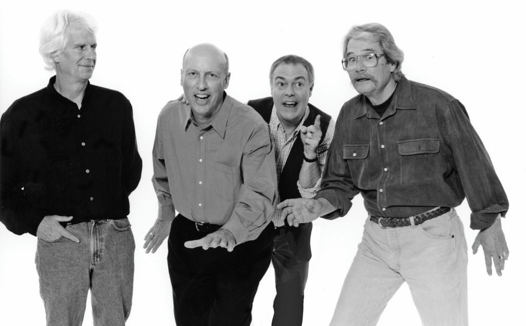 A promotional photo from the Firesign Theatre, featuring Peter Bergman second from left.