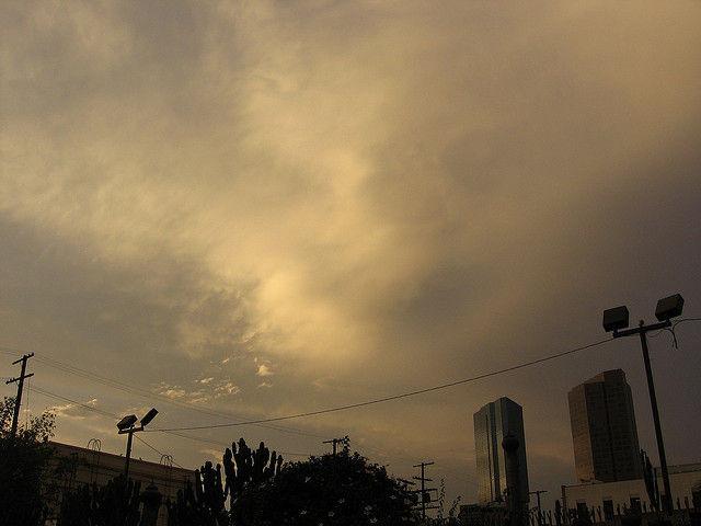Grey clouds hang in Los Angeles skies.