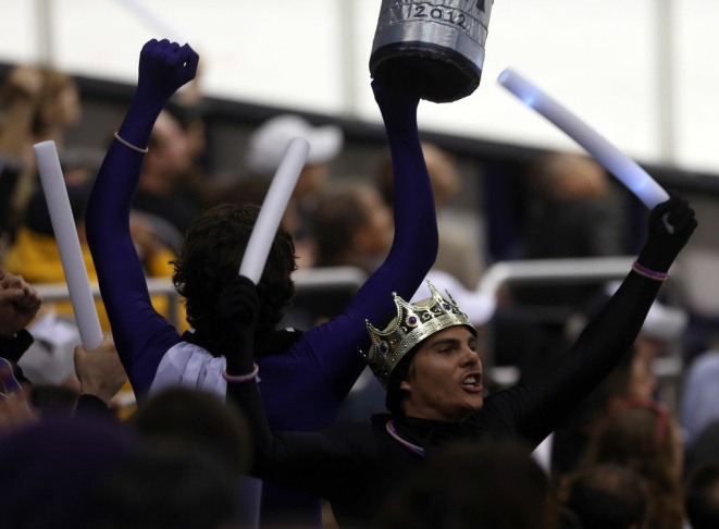 A Los Angeles Kings fan cheers on the team while taking on the New Jersey Devils  react in Game 3 of the 2012 Stanley Cup Final at Staples Center on June 4, 2012 in L.A., Calif.