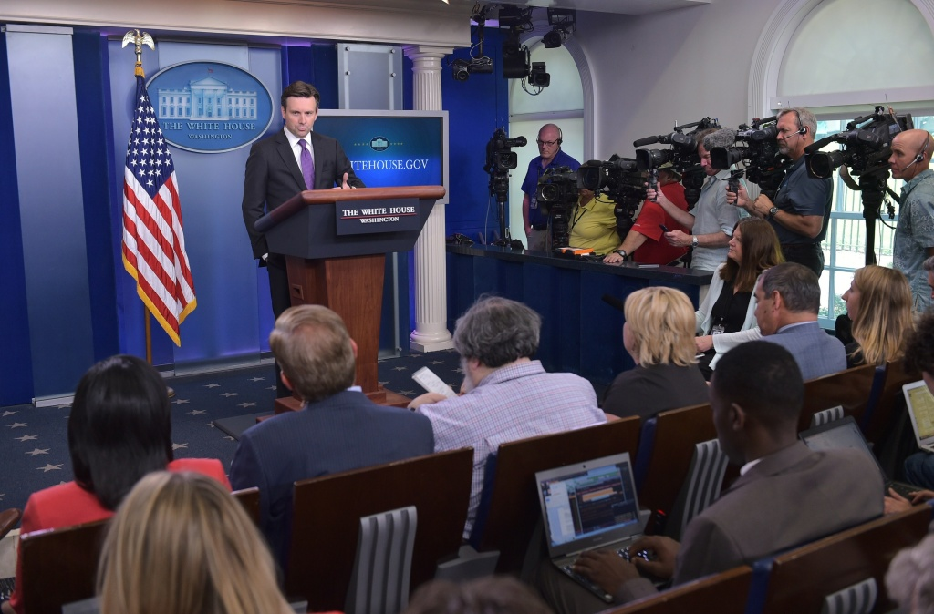 White House Press Secretary speaks on June 12, 2015 in the Brady Breifing Room of the White House in Washington, DC.