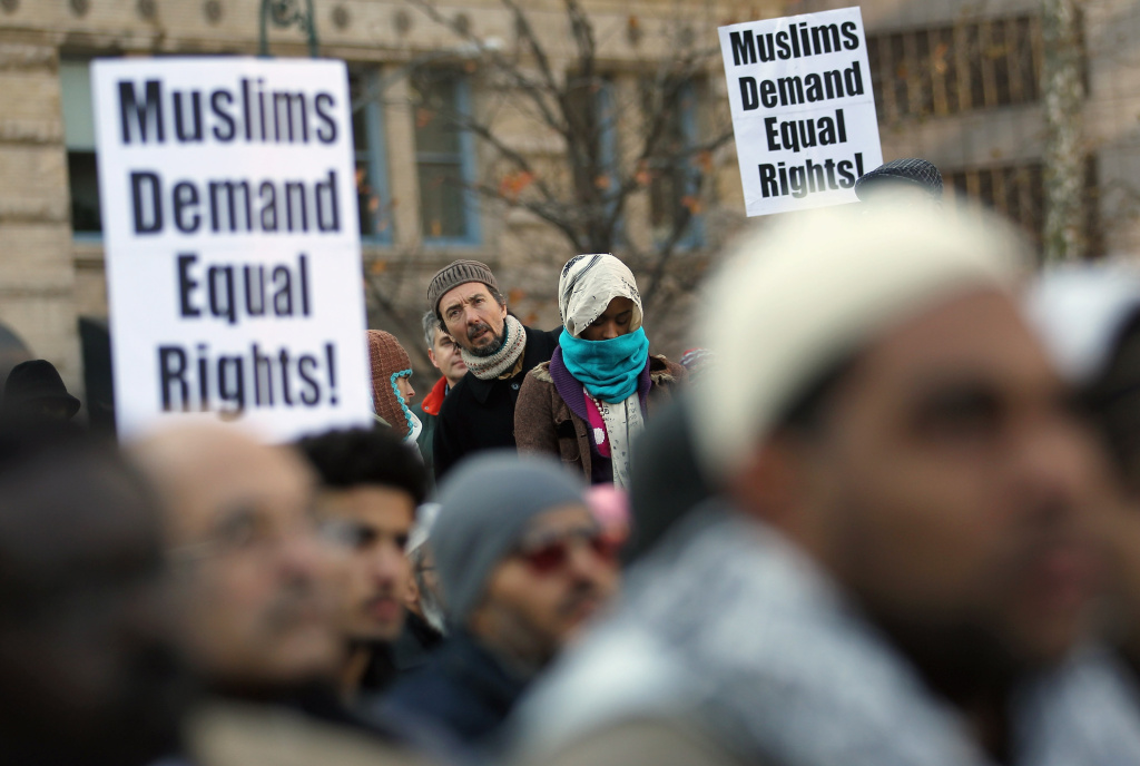 Civil liberties advocates say they've discovered a government program to screen immigrants for national security concerns that has blacklisted some Muslims and put their U.S. citizenship applications on hold for years. This is not the first time the issue of ethnic and religious discrimination has been raised for followers of Islam in the United States. This photo shows Muslims rallying in Foley Square during a protest of ethnic profiling by law enforcement in 2011 in New York City.