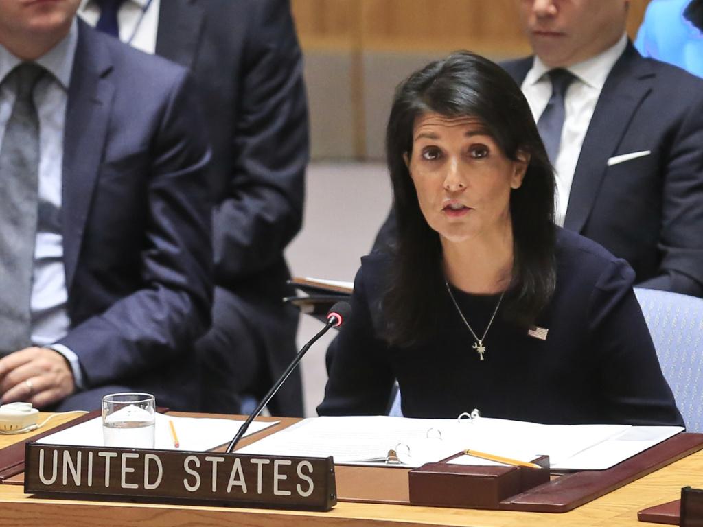 United Nations U.S. Ambassador Nikki Haley addresses a U.N. Security Council meeting on North Korea, on Monday.