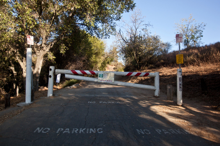 The Angeles National Forest is one of nine national parks in California affected by the government shutdown starting Tuesday, Oct. 1. A trail near Millard Campground is gated.