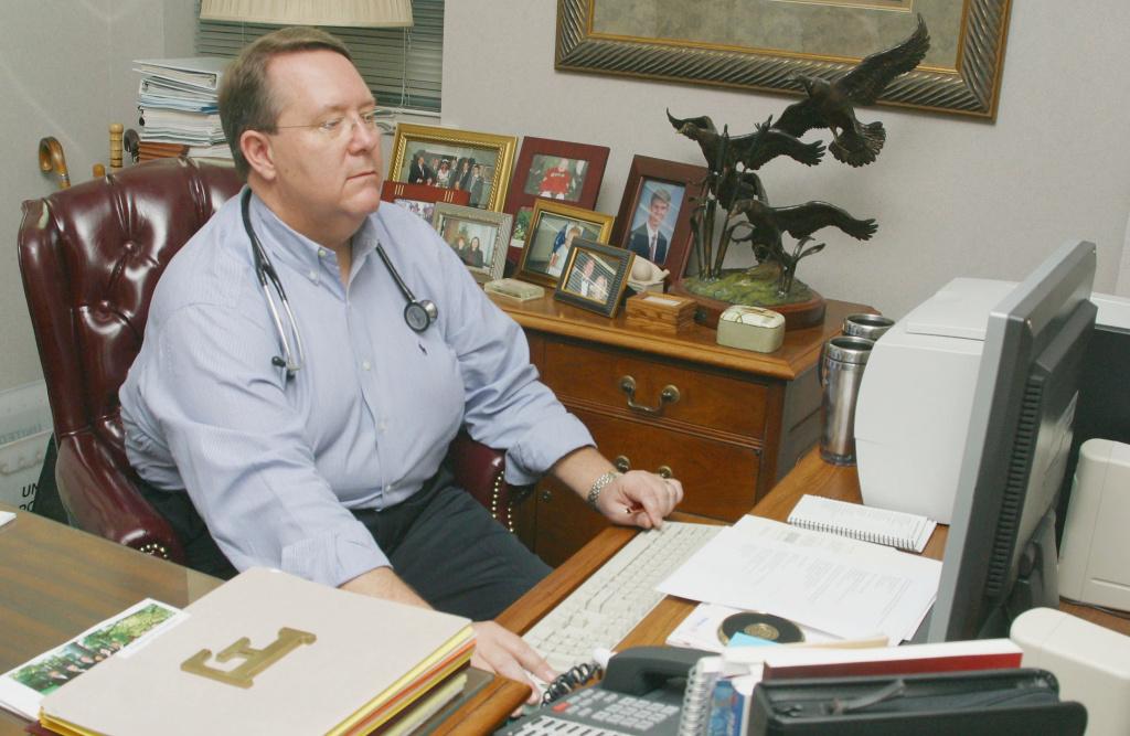 President of the American Academy of Family Physicians, Dr. Michael Fleming sits at his desk on March 19, 2004, in Shreveport, LA.