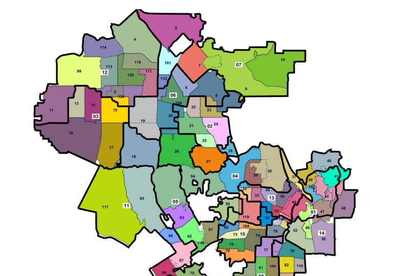 A portion of the final draft recommendation redistricting map that went before the L.A. City Council.