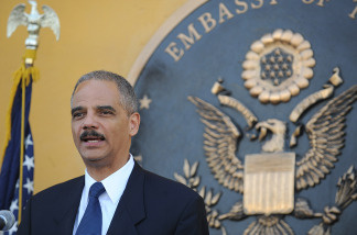 U.S. Attorney General Eric Holder holds a news conference Wednesday in Kabul. Holder was in the Afghan capital to talk to officials about improving the justice system and fighting corruption.
