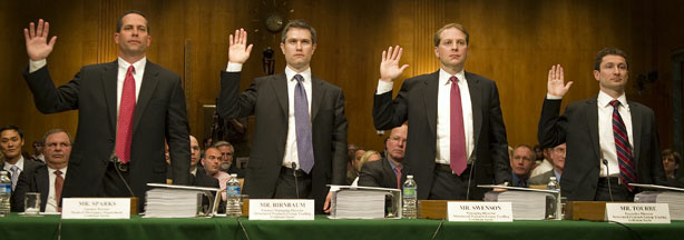 Daniel Sparks (L), a former partner who ran the mortgage department, Goldman Sachs Trader Josh Birnbaum (2nd L), Managing Director in the mortgage department at Goldman Sachs Michael Swenson (2nd R) and Fabrice Tourre (R), who is accused of fraud in a Securities and Exchange Commission lawsuit over a mortgage-linked investment, are sworn in to testify on Capitol Hill in Washington, DC, April 27, 2010, during a Senate Homeland and Secruity and Government Affairs Committee Permanent Subcommittee on Investigations.