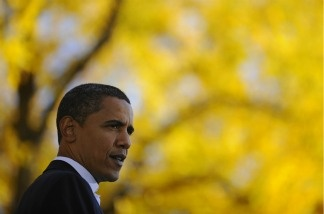 U.S. President Barack Obama speaks at a campaign rally in Colorado during his campaign for the presidency on October 26, 2008.