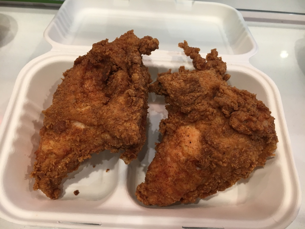 Astro's fried chicken breasts, cooked in a pressure cooker.