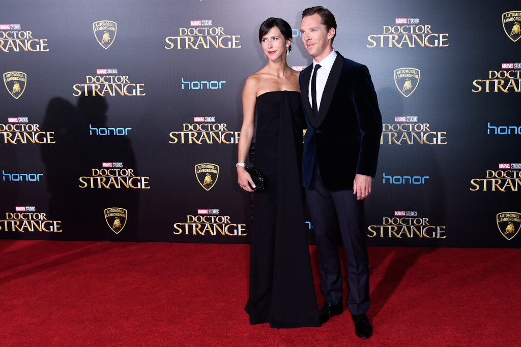 Benedict Cumberbatch and Sophie Hunter attend the premiere of Disney and Marvel Studios'