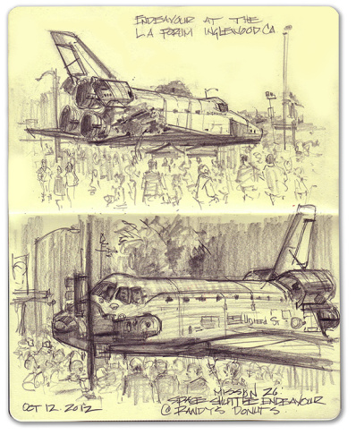 Mike Sheehan sketched Shuttle Endeavour last weekend as it traveled from LAX to the California Science Center