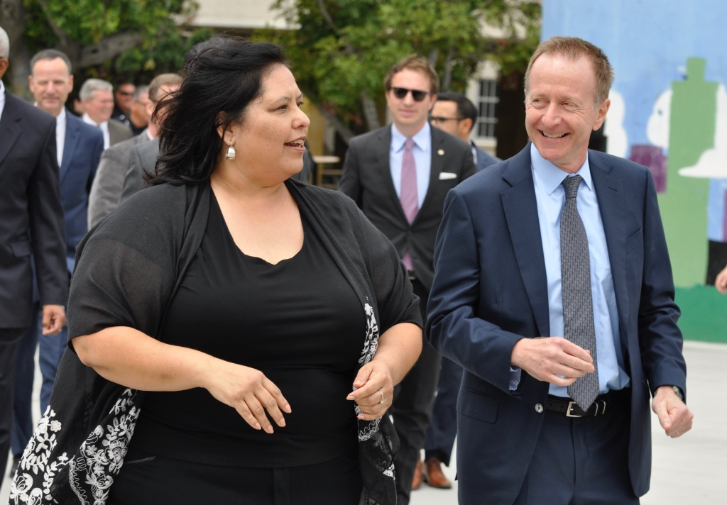 Austin Beutner (left), the newly-named superintendent of the Los Angeles Unified School District, walks to a press conference with school board president Mónica García on Weds., May 2, 2018.