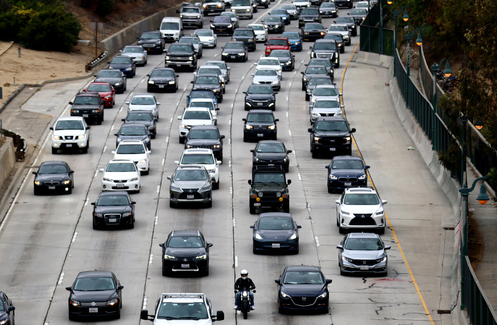 Vehicles make their way down the aging 110 freeway toward downtown L.A. during the morning commute on April 22, 2021 in Los Angeles, California.