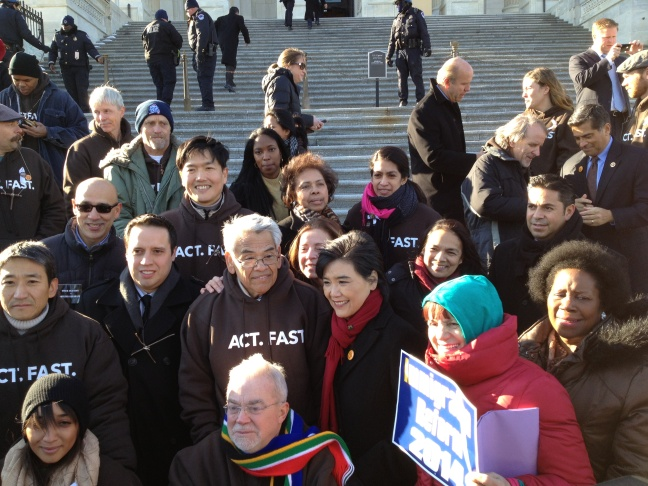 Democrat Judy Chu (center, wearing red scarf) was one of the members of Congress who fasted for a day in support of immigration reform.