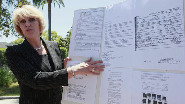 File photo of Attorney Orly Taitz speaking to the media outside the 9th U.S. Circuit Court of Appeals in Pasadena, Calif. Monday, May 2, 2011.