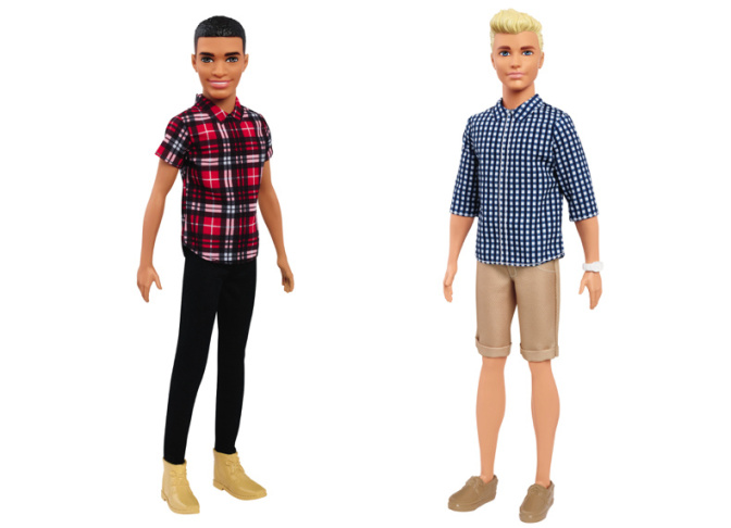 This photo combo of images from Mattel shows some of the new skin tones, hair styles, and body shapes of the Ken dolls.