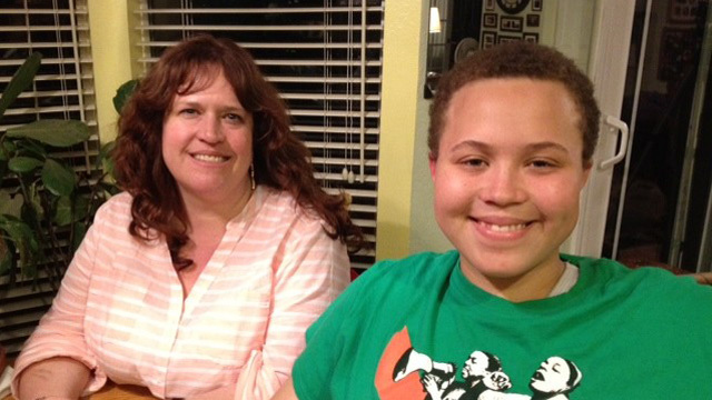 Sixteen-year-old Ashton Lee (right) and his mother, Catherine, (left) were successful in getting the Manteca Unified School District to address the rights of transgender students on campus.