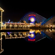 "Reflections of the Disneyland California Adventure rides before ""World of Color"" show."
