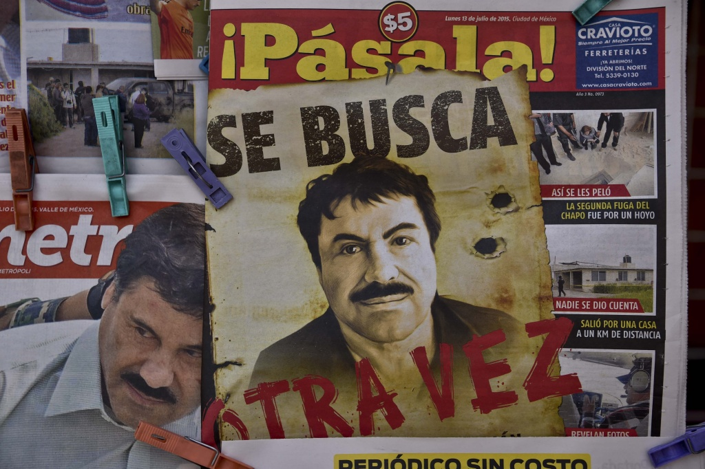 A poster with the face of Mexican drug lord Joaquin