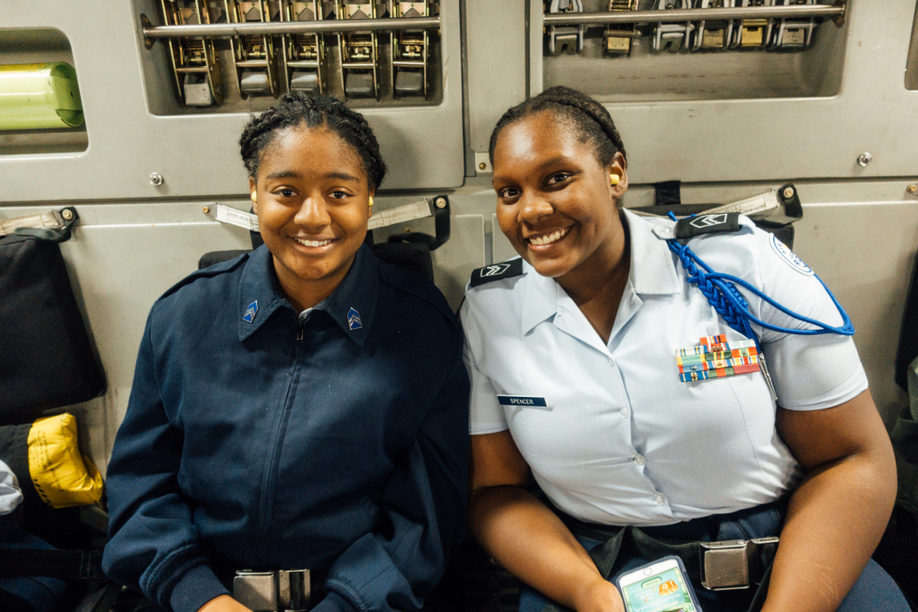 Air Force Junior Reserve Officer Training Corps cadet Alicia Spencer (right) is studying chemistry to work in forensic science someday.