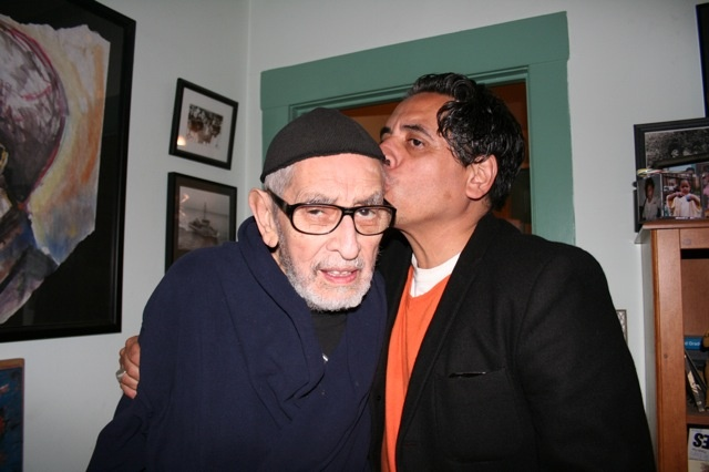Richard Montoya kissing his father, the civil rights activist, poet, teacher, and artist Jose Montoya.
