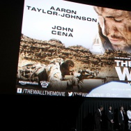 "John Cena, Aaron Taylor-Johnson, Doug Liman and Dwain Worrell at a Q&A following the premiere of ""The Wall."""