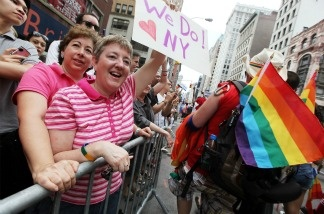 Supporters celebrate during the Gay Pride parade on June 26, 2011 in New York City.