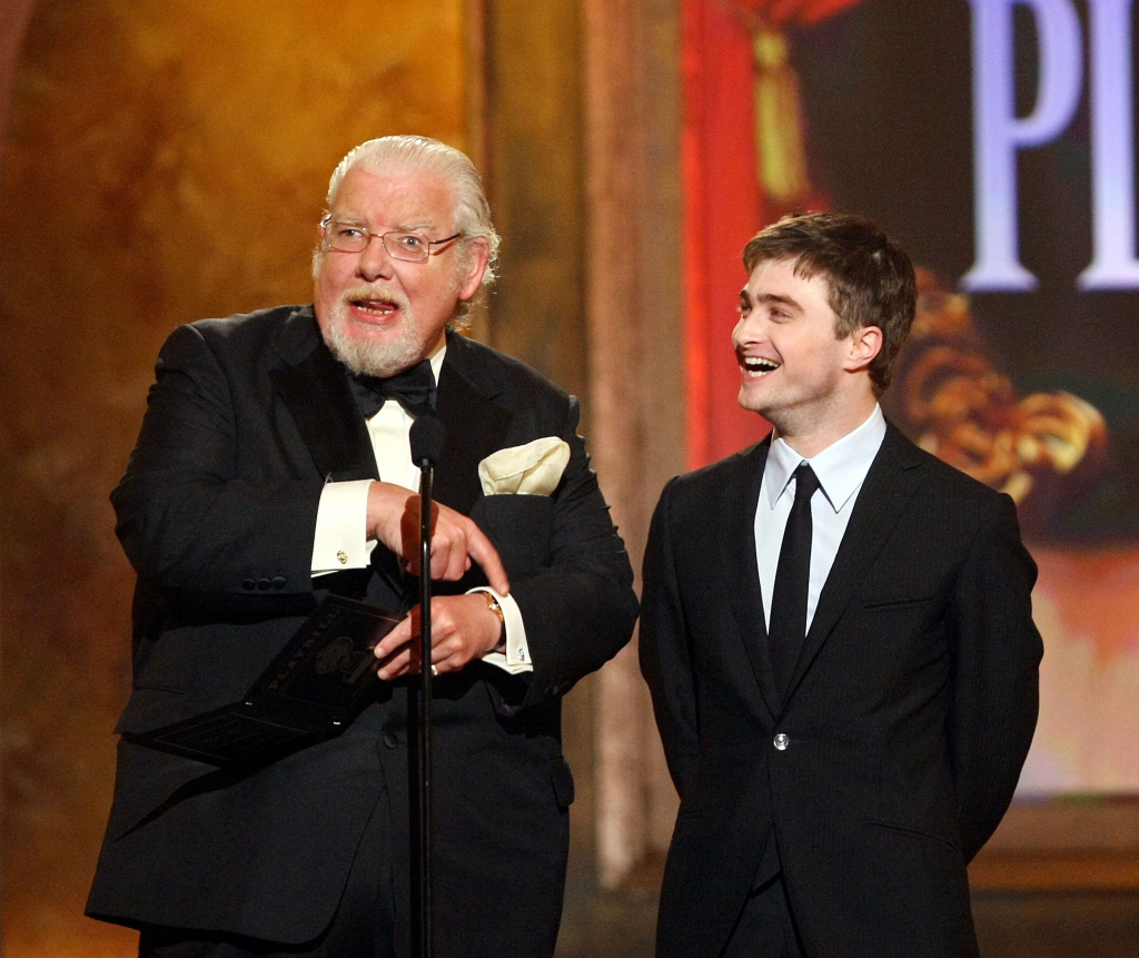 Actors Richard Griffiths (L) and Daniel Radcliffe present the Tony for Best Play onstage during the 62nd Annual Tony Awards held at Radio City Music Hall on June 15, 2008 in New York City.