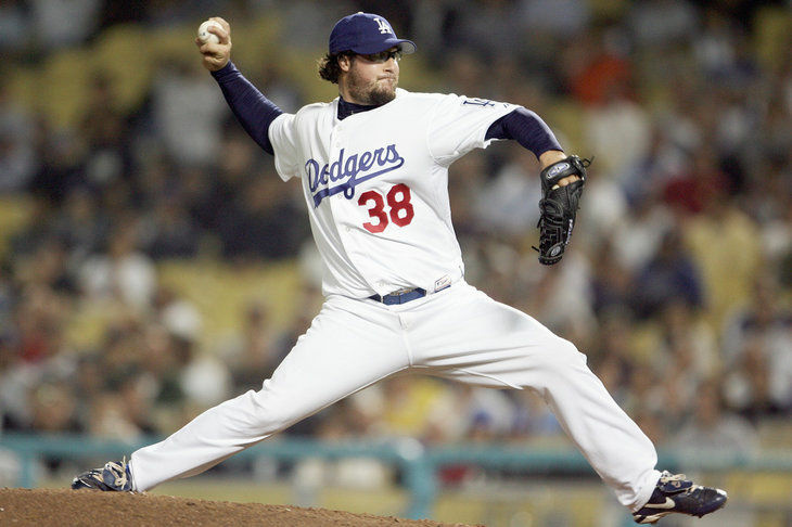 Eric Gagne when he played for the Los Angeles Dodgers during the game on June 6, 2006 at Dodger Stadium in Los Angeles, California. The Dodgers defeated the Mets 8-5.
