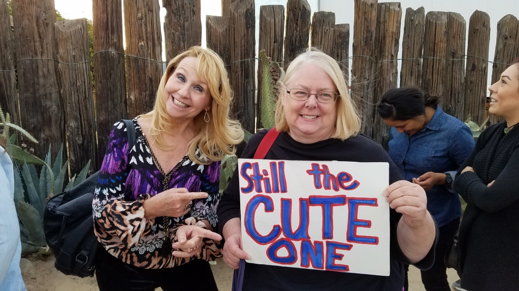 Sue Weisenhaus and friend, hoping to get into Paul McCartney's surprise concert at Pappy & Harriet's in Pioneertown.