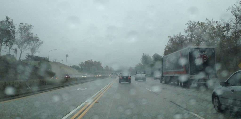 Rain Monday morning has made for hazardous driving conditions throughout Southern California. Rain falls on a Southern California freeway during a recent storm.
