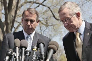House Speaker John Boehner, left, and Senate Majority Leader Harry Reid meet with reporters outside the White House on April 7, 2011, after their meeting with President Obama regarding the budget and possible government shutdown.