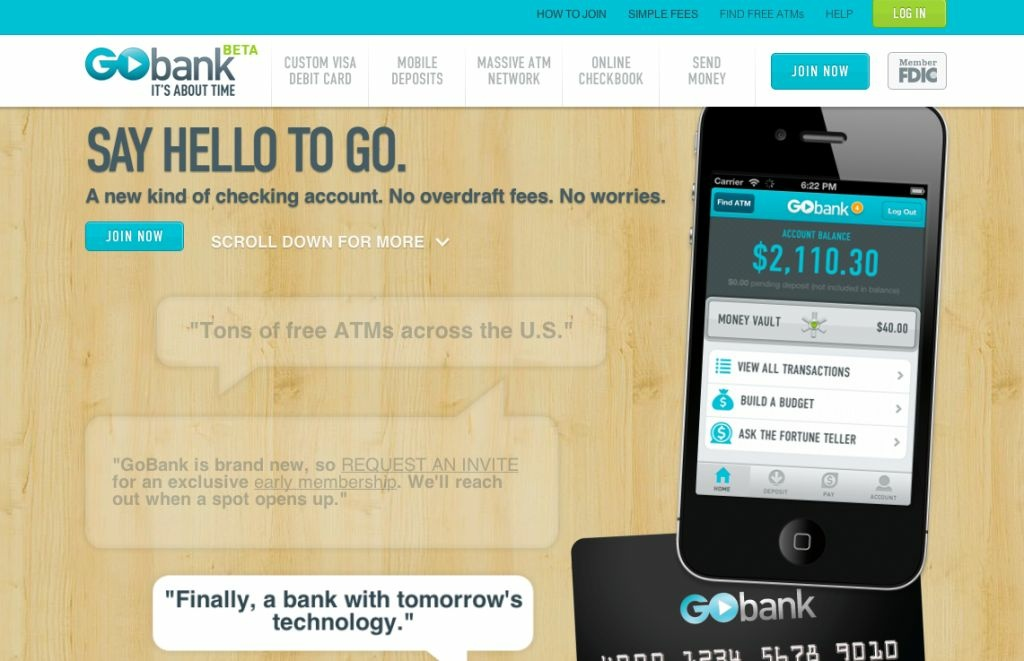 GoBank. There's no actual bank. The whole thing lives inside an iPhone.